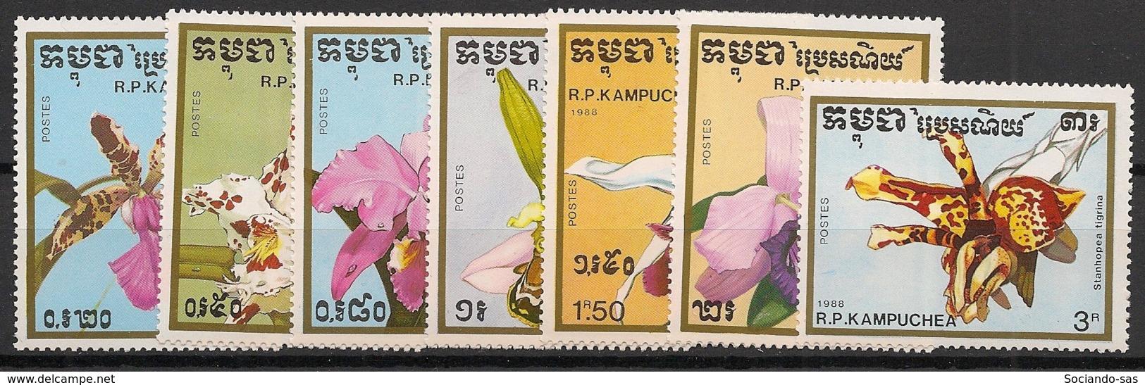 Kampuchea - 1988 - N°Yv. 837 à 843 - Orchidées - Neuf Luxe ** / MNH / Postfrisch - Kampuchea