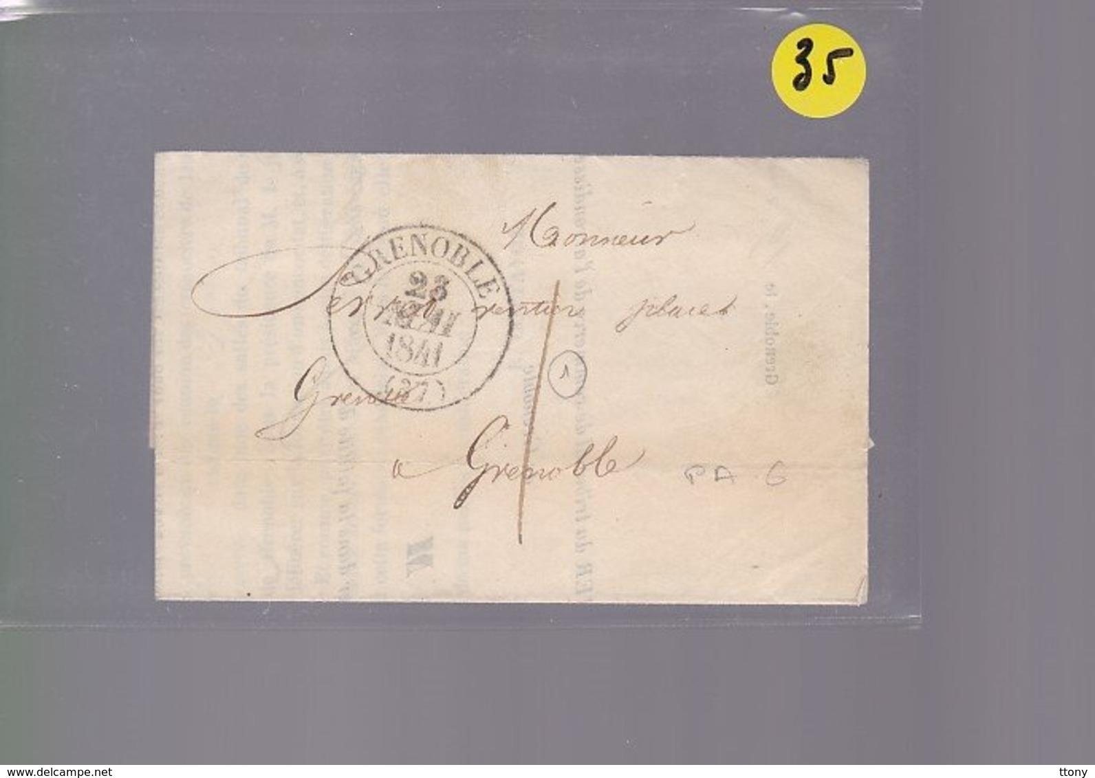 Une Lettre Enveloppe   Grenoble Pour     Grenoble  Courrier Greffier Du Commerce  Année 1841 - Marcophilie (Lettres)