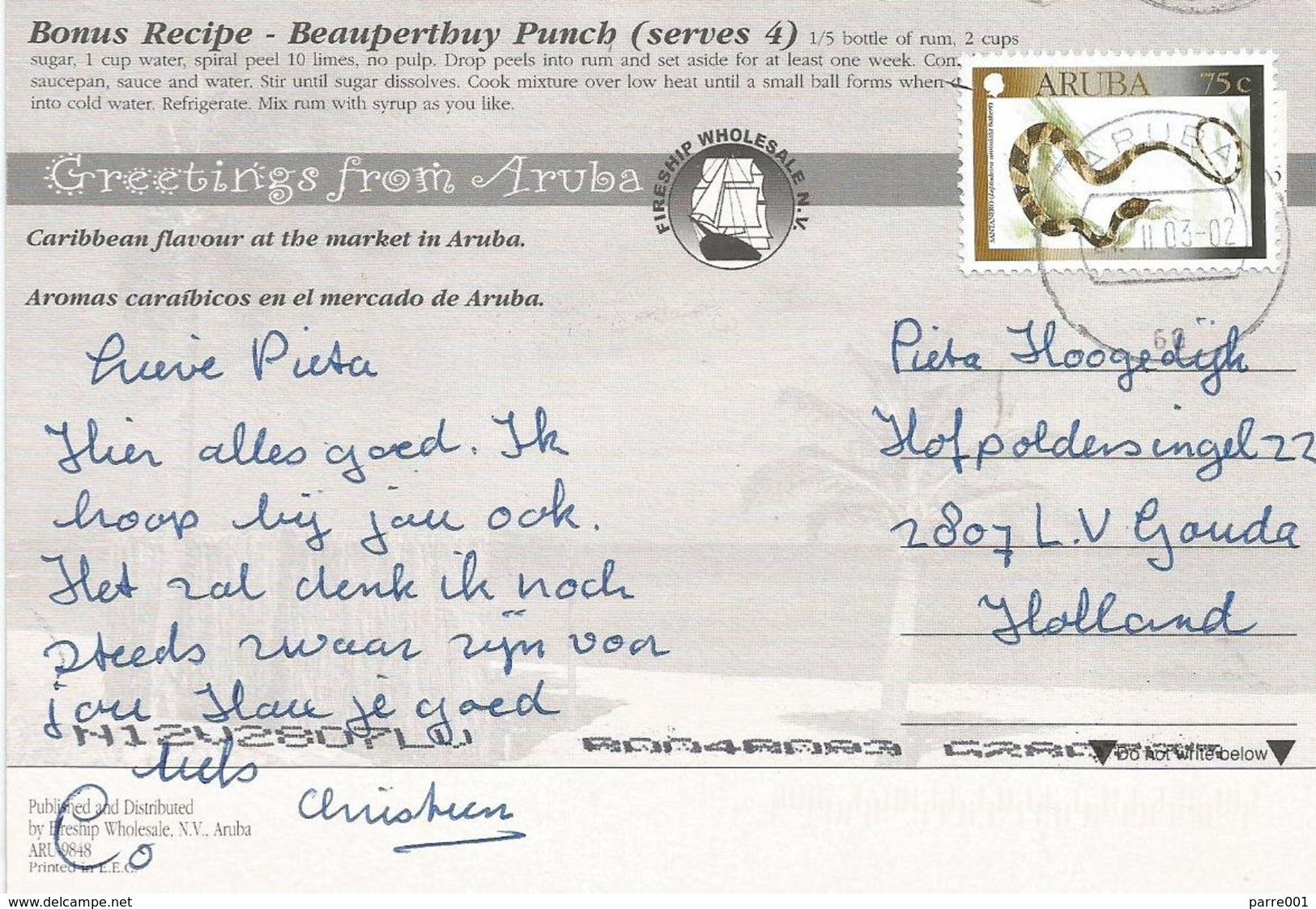 Aruba 2003 Banded Cat-eyed Snake Leptodeira Annulata Viewcard - Slangen