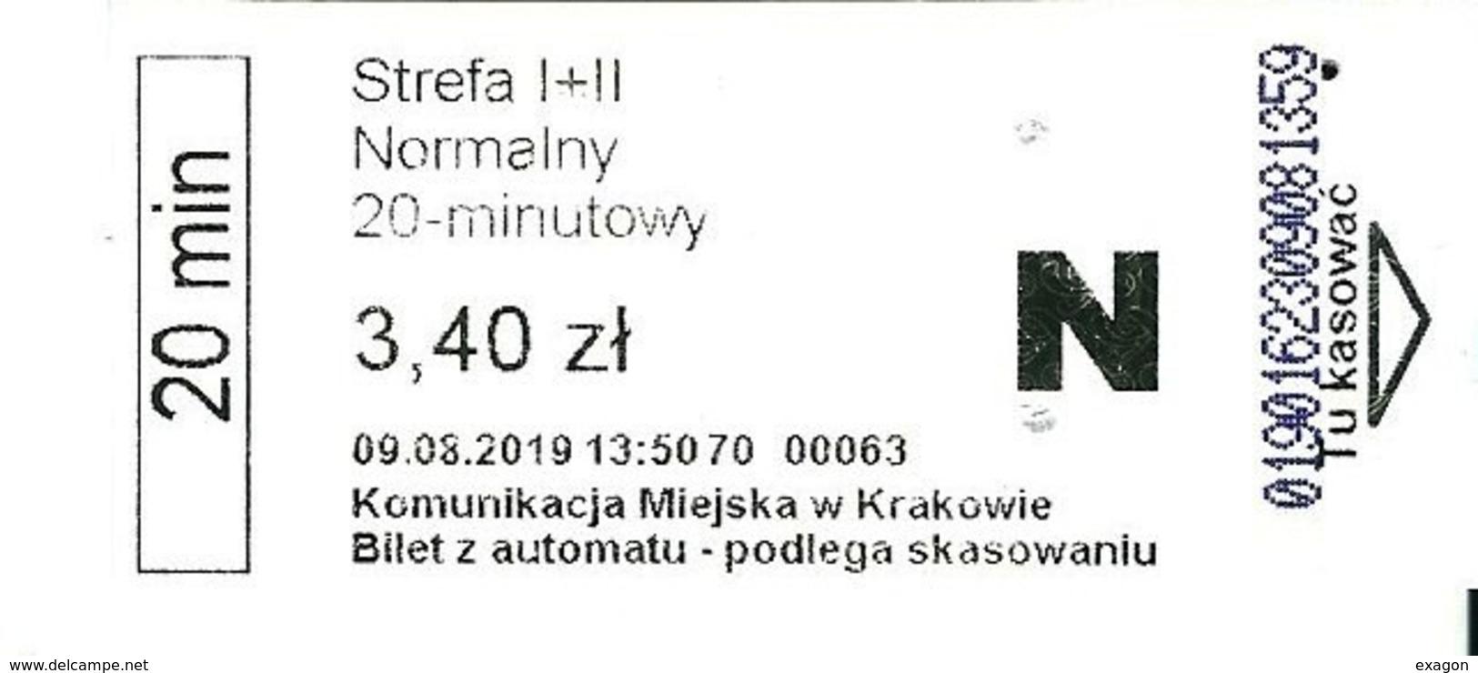 Lotto Di N.  3  Biglietti Urbani  BUS  KRRAKOWIE -   POLONIA -    Anno  2019. - Busse