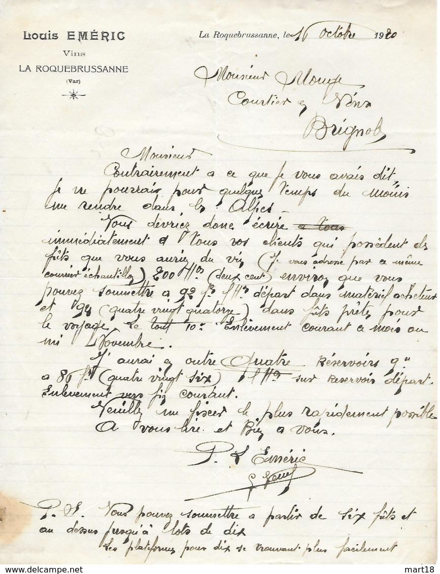 Facture Lettre 1920 - EMERIC à La ROQUEBRUSSANNE ( Var 83 ) - Vins -- Pas Carte Postale - - La Roquebrussanne