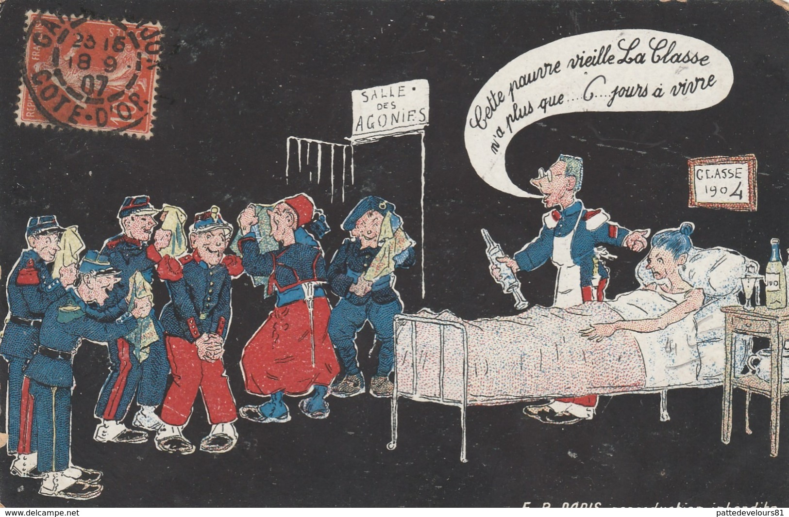 CPA Soldat Militaire Classe 1904 Médecin Toubib Médecine Clystère Clyter Lavement Humour Militaria Illustrateur 2 Scans - Humoristiques
