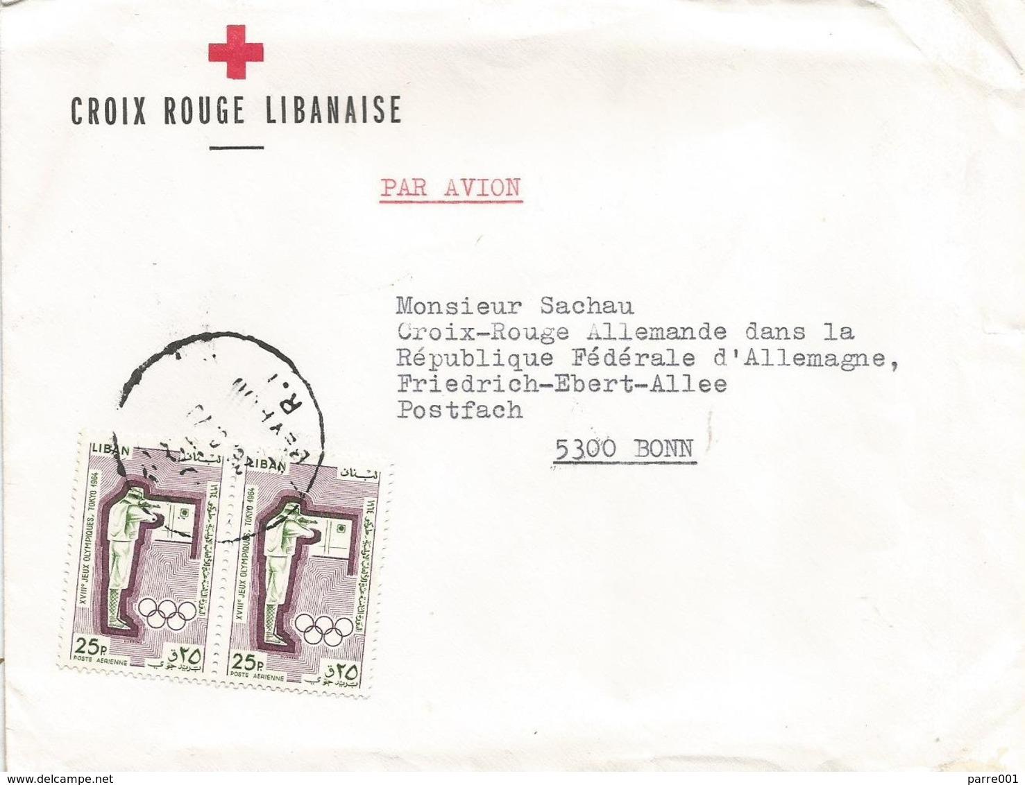 Lebanon Liban 1979 Beyrut Shooting Olympic Games Tokyo Red Cross Cover - Libanon