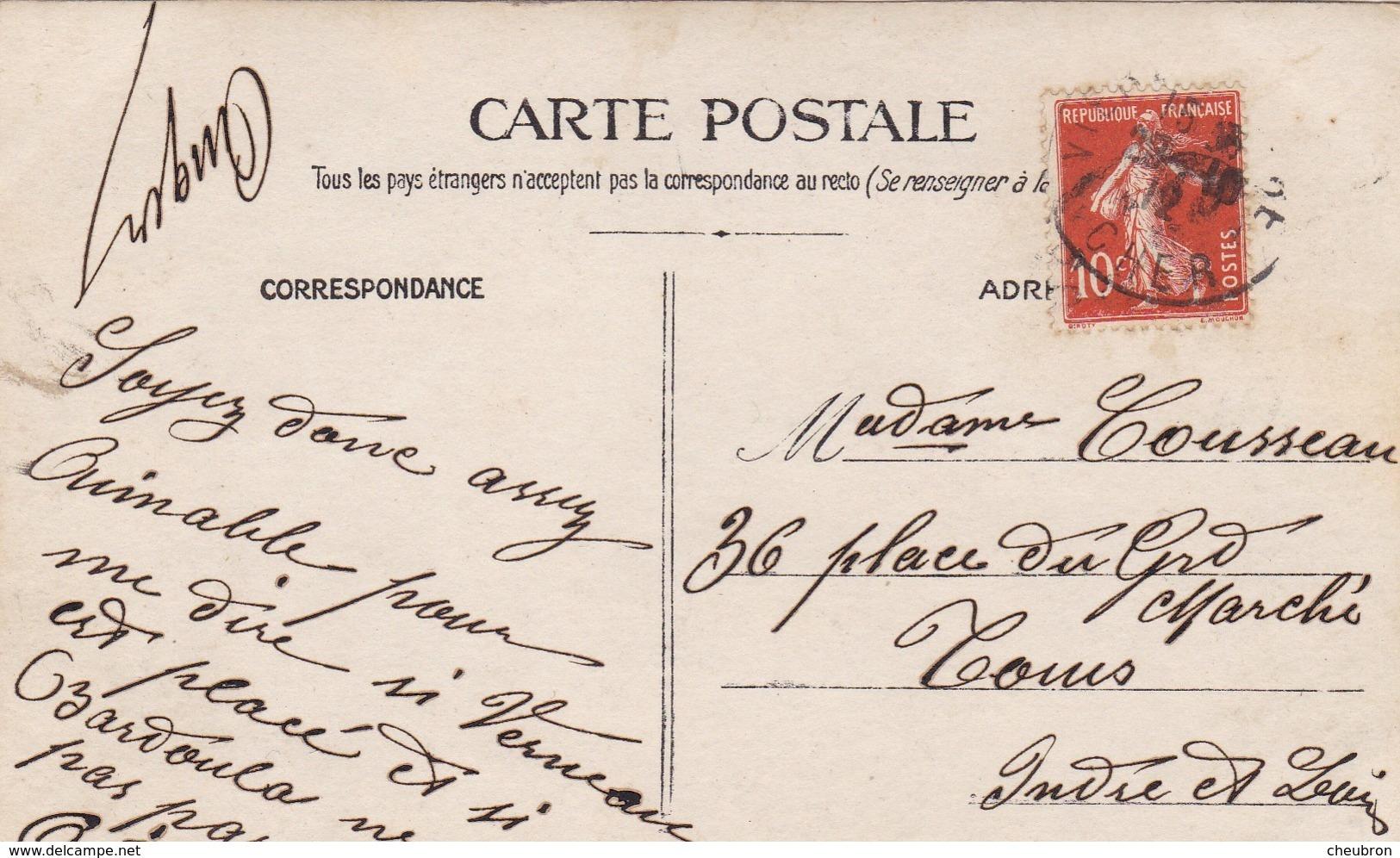 37. TOURS ( A DESTINATION DE). . CARTE PHOTO . RESTAURATION. LE CHEF ET SON EQUIPE. ENVOYE  DE  VIERON. ANNEE 1912. - Métiers
