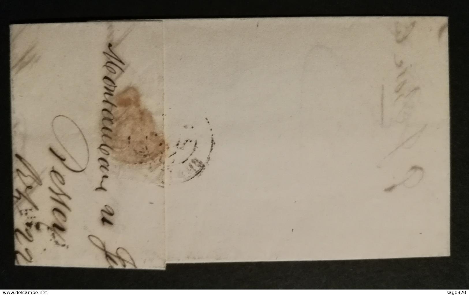 Tarn Et Garonne.Lettre Avec Cachet Type 12 De Montauban.Pour Bordeaux - Marcophilie (Lettres)