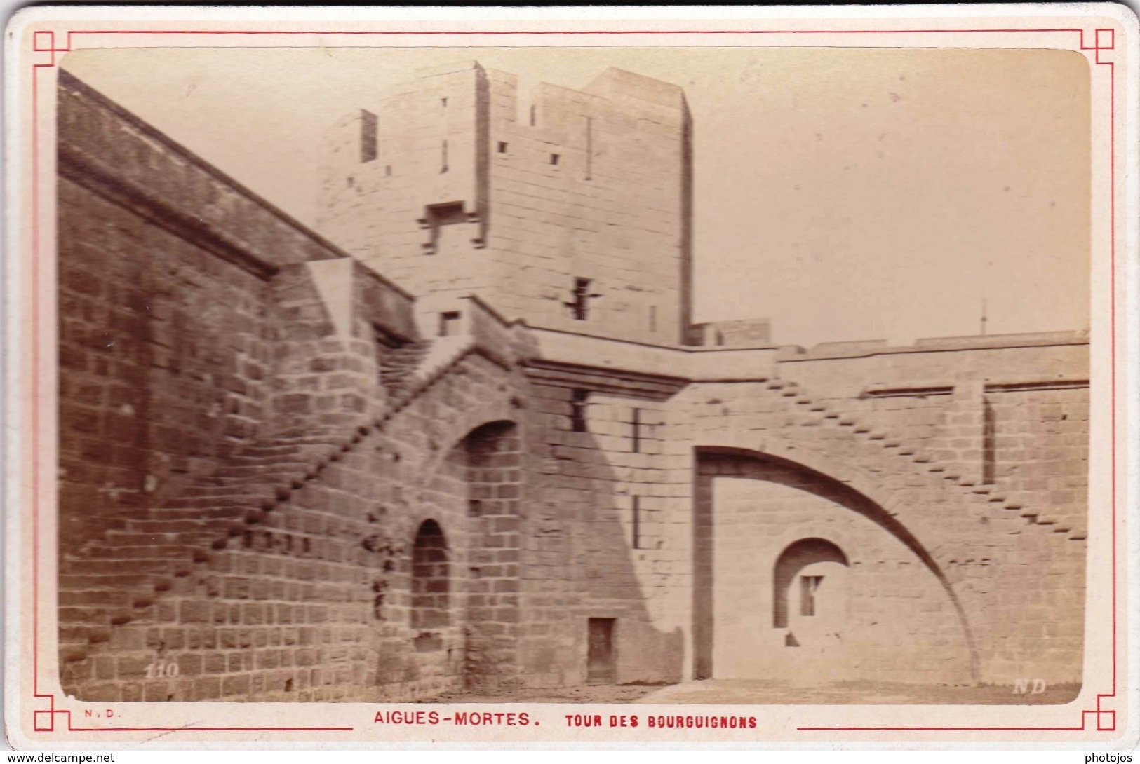 Photo Albuminée Sur Carton 11 X 16,5 : Aigues Mortes (13) Tour Des Bourguignons N D   Circa 1880 - Photos