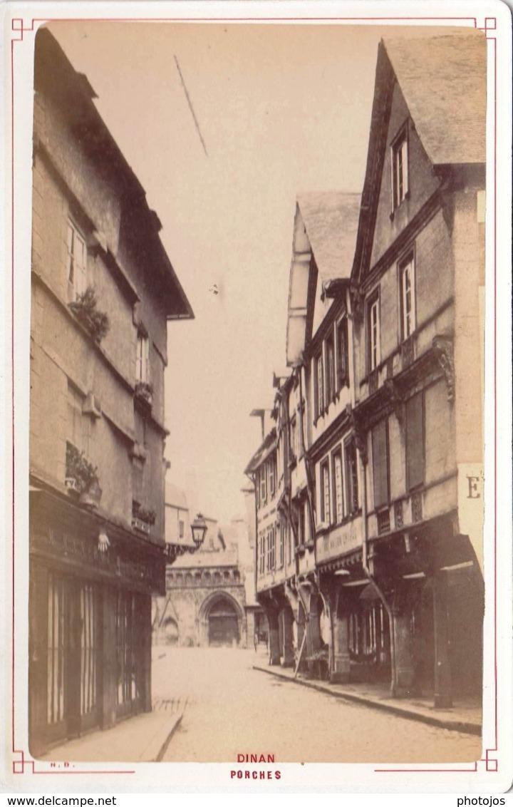 Photo Albuminée Sur Carton 11 X 16,5 : Dinan (22) Porches  N D   Circa 1880 - Anciennes (Av. 1900)