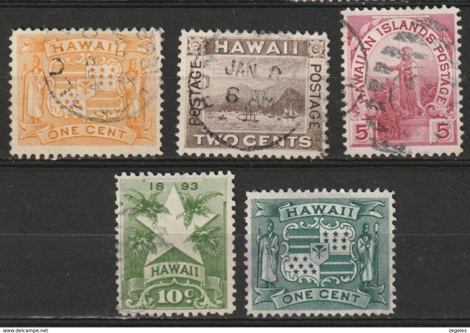 Hawaii 1894 1, 2, 5, 10 And 1 Cent Yvert 63+ Cancelled - Hawaï
