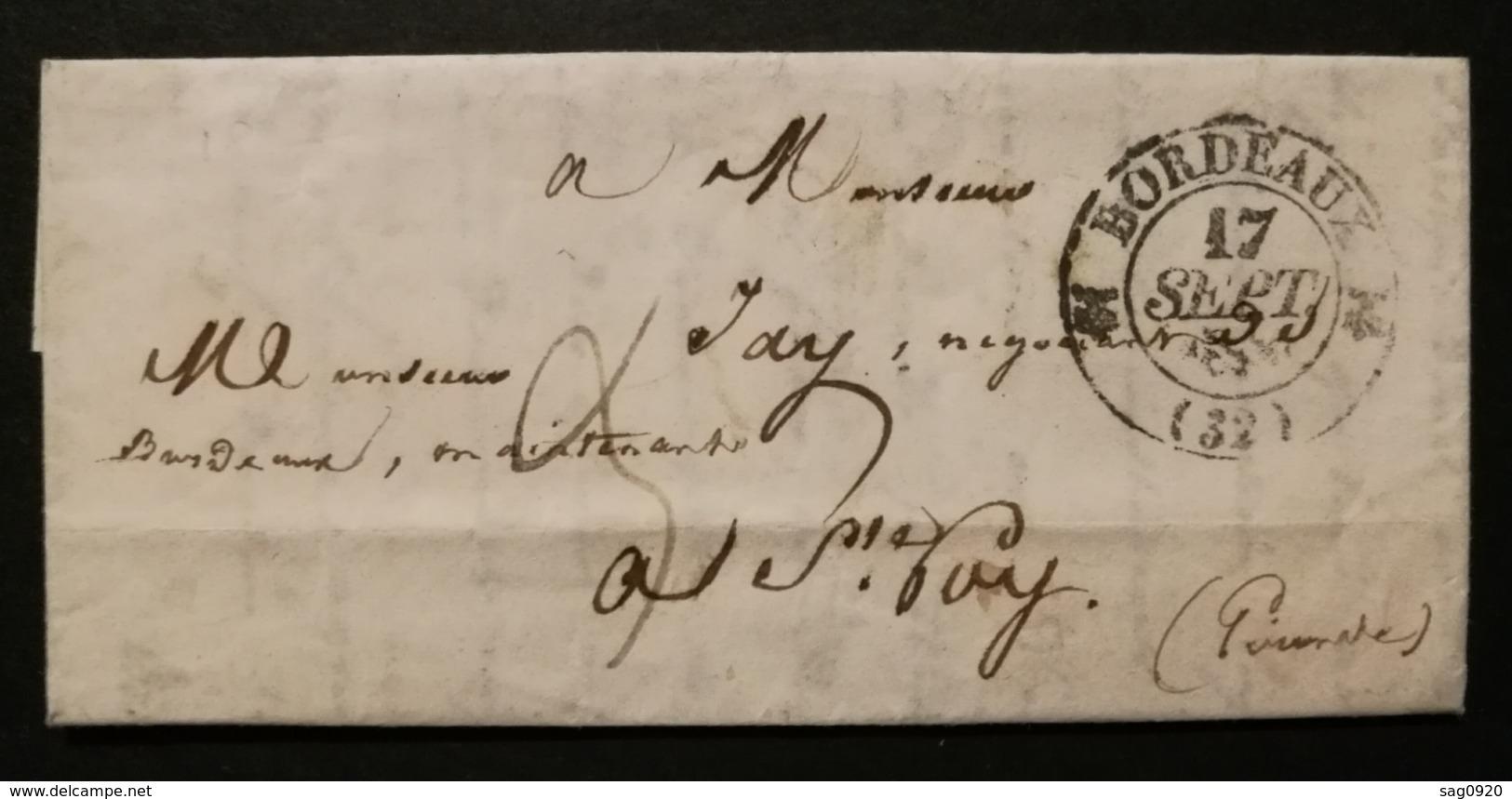 Gironde.Lettre Avec Cachet Type 12 De Bordeaux.Pour Ste Foy - Marcophilie (Lettres)