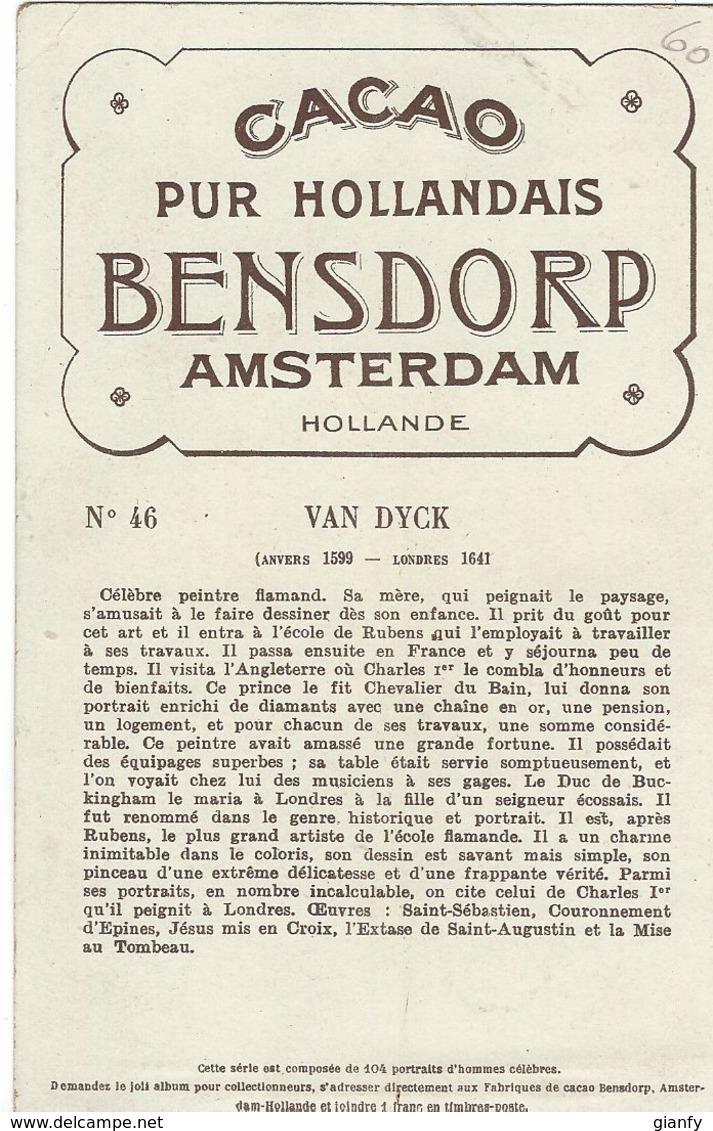 CHROMO CACAO BENSDORP AMSTERDAM 1900 ANTOON VAN DYCK PORTRAIT DE CHARLES Ier - Chocolate