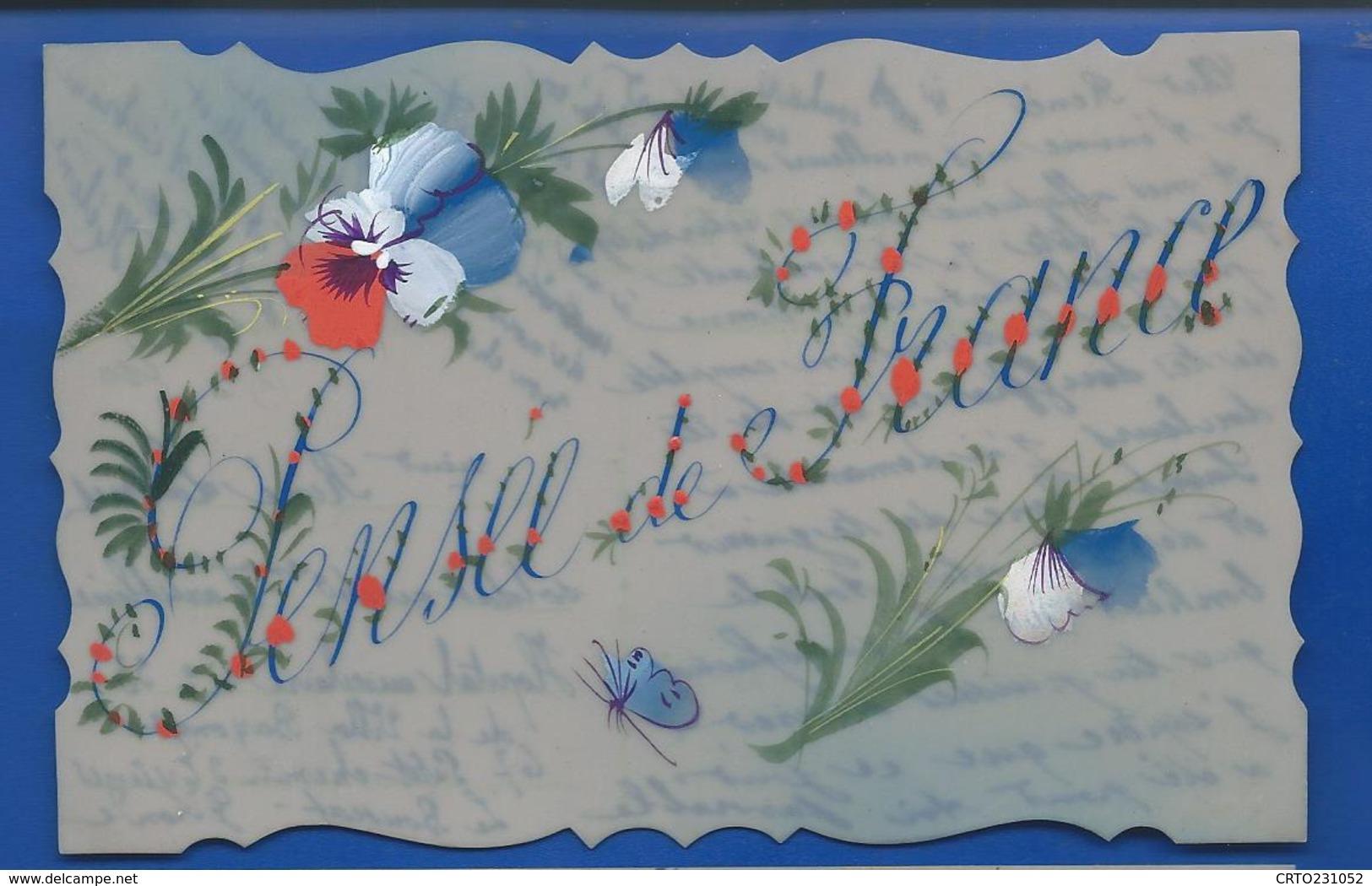 Carte En Celluloid   Peint à La Main   Pensée De France  1914 - Phantasie