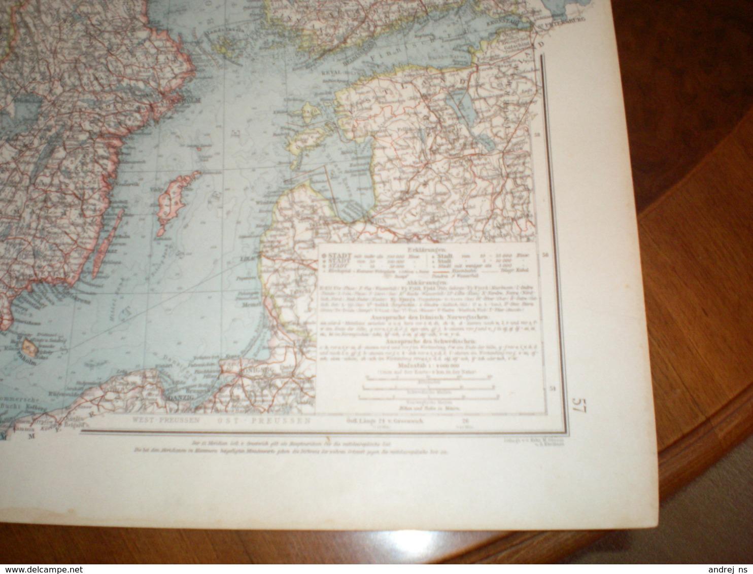 Schweden Und Norwegen Volks Und Familien Atlas A Shobel Leipzig 1901 Big Map - Cartes Géographiques
