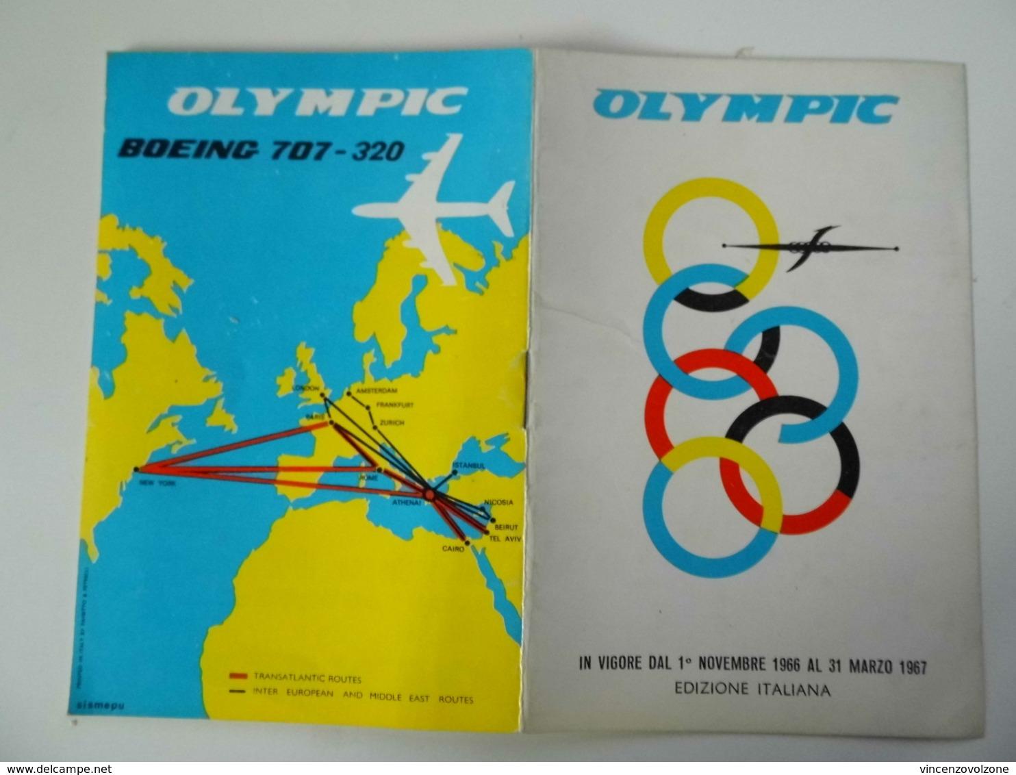 """Opuscolo  Illustrato Orario Compagnia Aerea """"OLYMPIC  BOEING 707 - 320"""" Edizione Italiana. - Dépliants Turistici"""