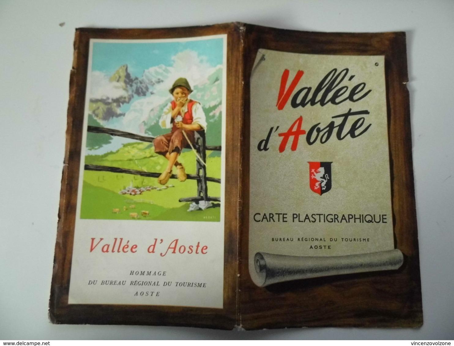 """Mappa """"VALLEE' D'AOSTE CARTE PLASTIGRAPHIQUE"""" Bureau Regional Du Turisme, Aoste  Anni '50 - Carte Geographique"""