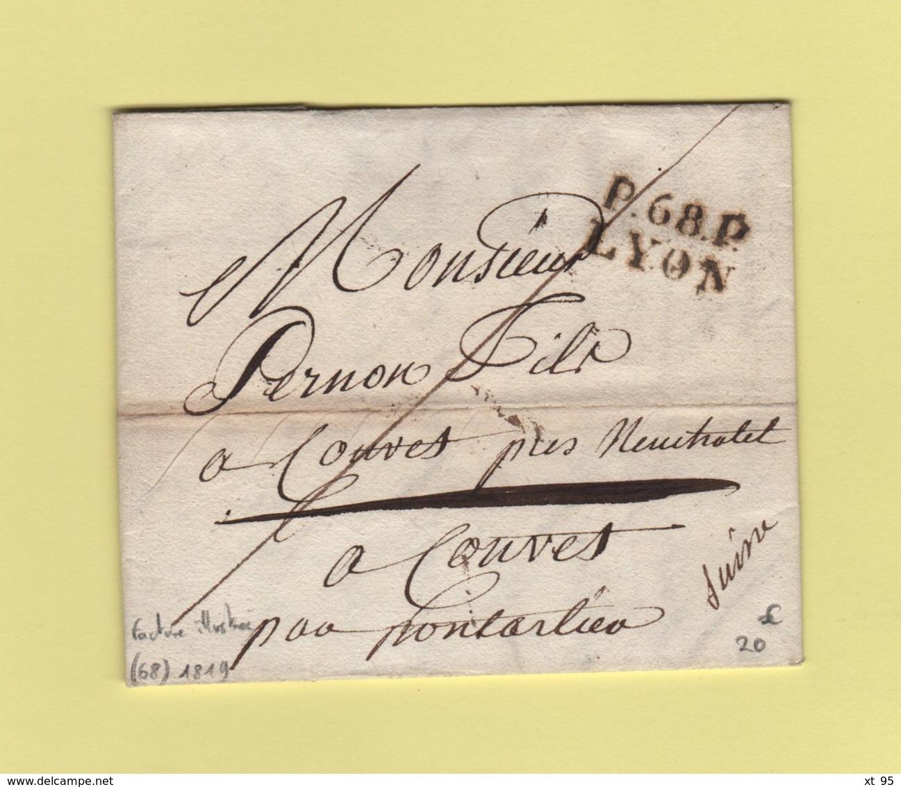 Lyon - 68 - Rhone - Port Paye - 1819 - Facture Illustree - Marcophilie (Lettres)