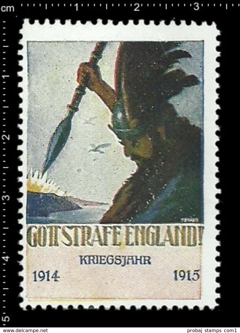 Old Poster Stamp Cinderella Reklamemarke Erinnofili Vignette Gott Strafe England God Punish England 1914-1915. - Cinderellas