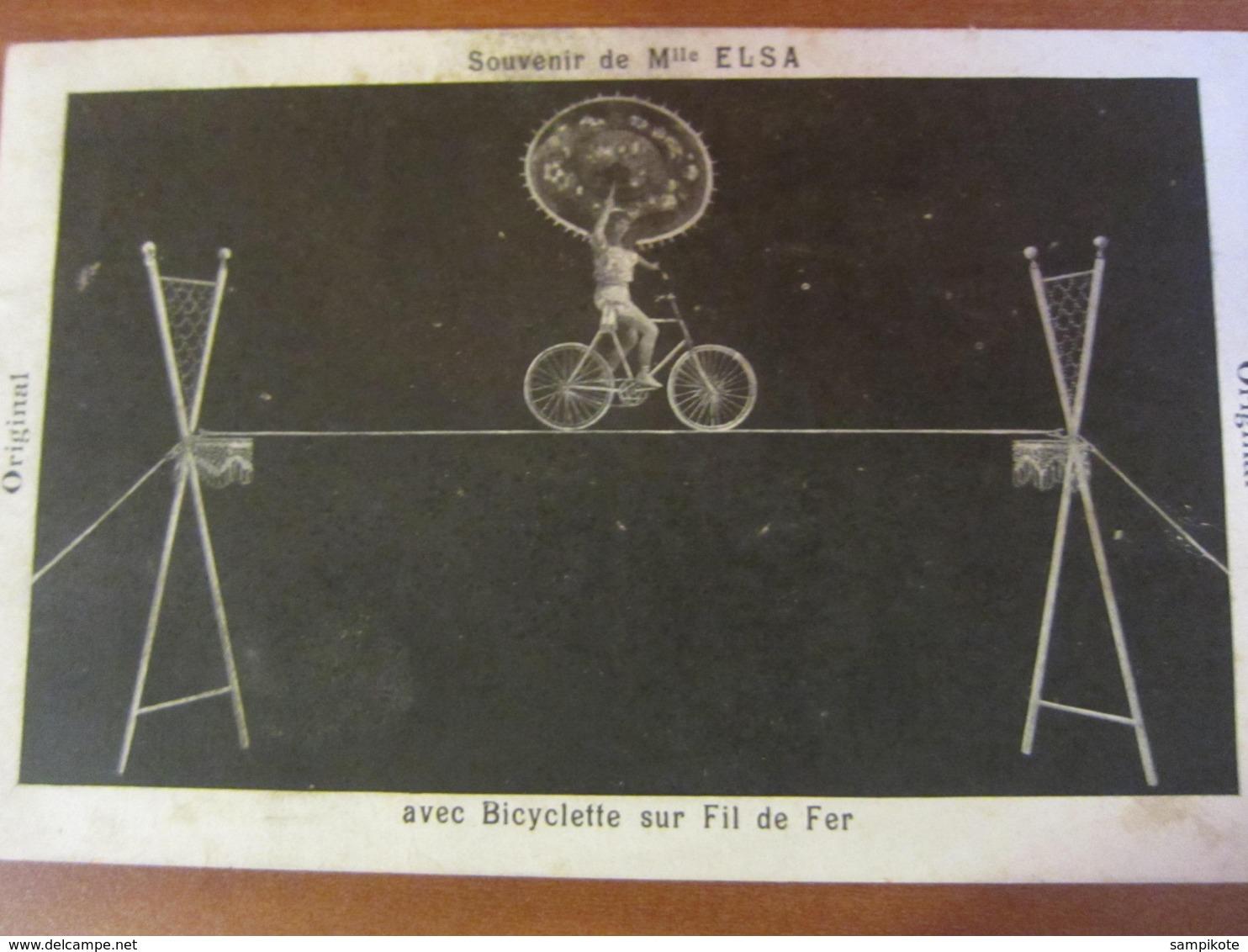 Cirque Souvenir De Melle ELSA Bicyclette Sur Fil De Fer - Francia