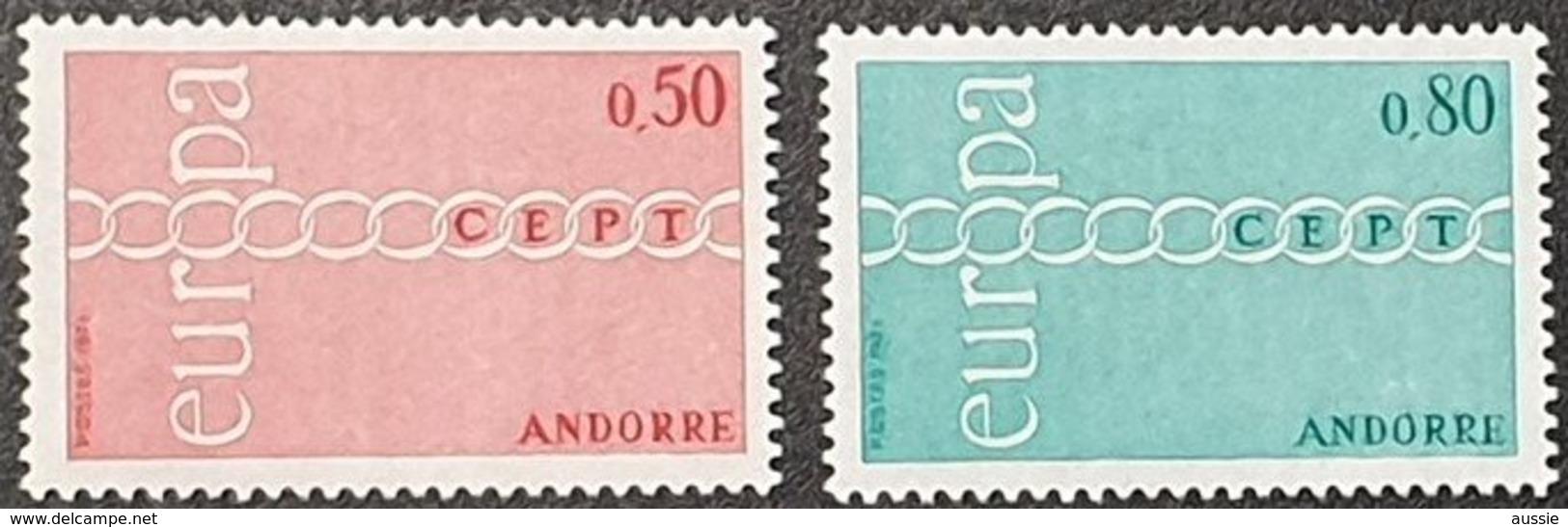 Cept 1971 Andorre Andorra  Yvertn° 212-213 *** MNH Cote 50 € Europa - Nuevos