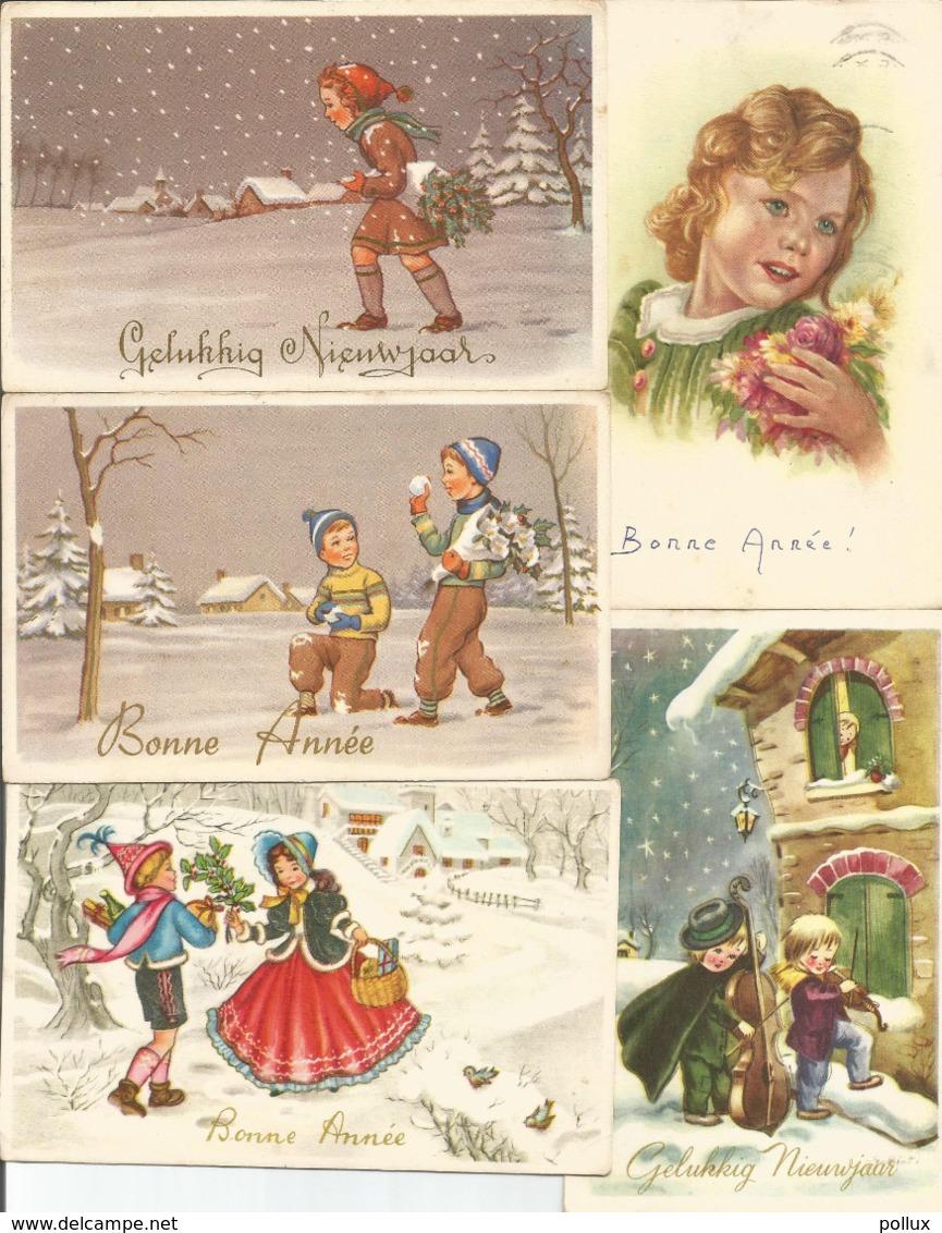 5 Cpa Bonne Année  Gelukkig Nieuwjaar Vers 1950 Enfants - Nouvel An