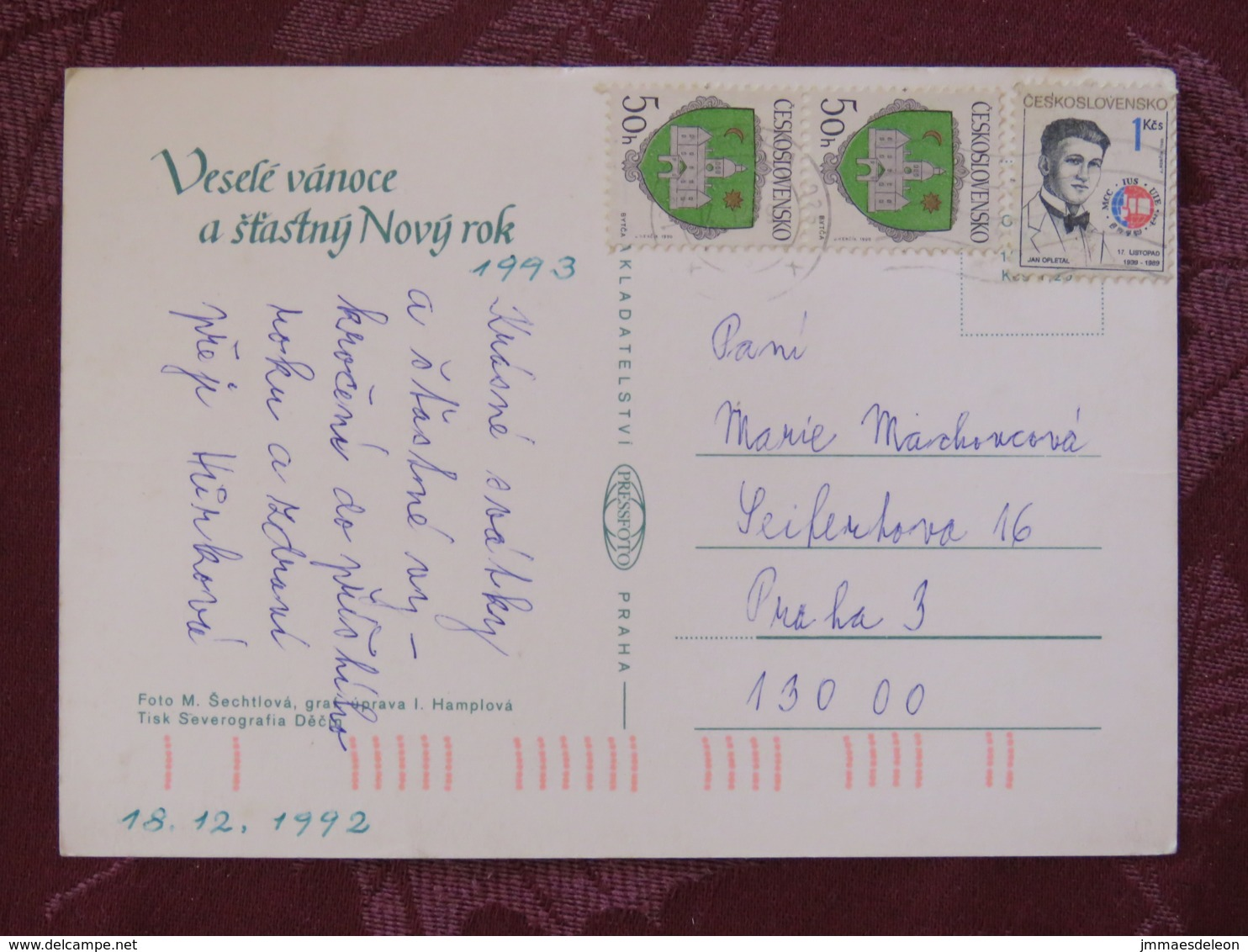 """Czechoslovakia 1992 Postcard """"greetings Candle"""" To Prague - Arms - Jan Opletal - Students Day - Covers & Documents"""