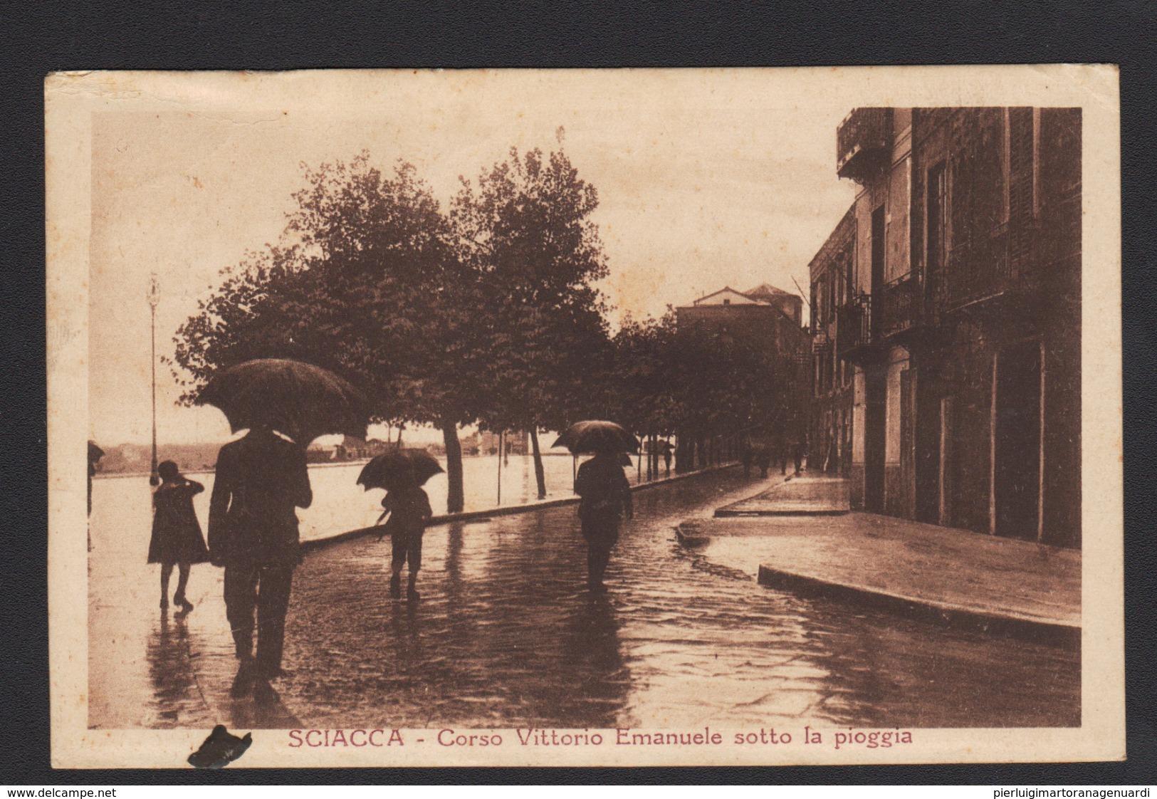 16945 Sciacca - Corso Vittorio Emanuele Sotto La Pioggia F - Agrigento