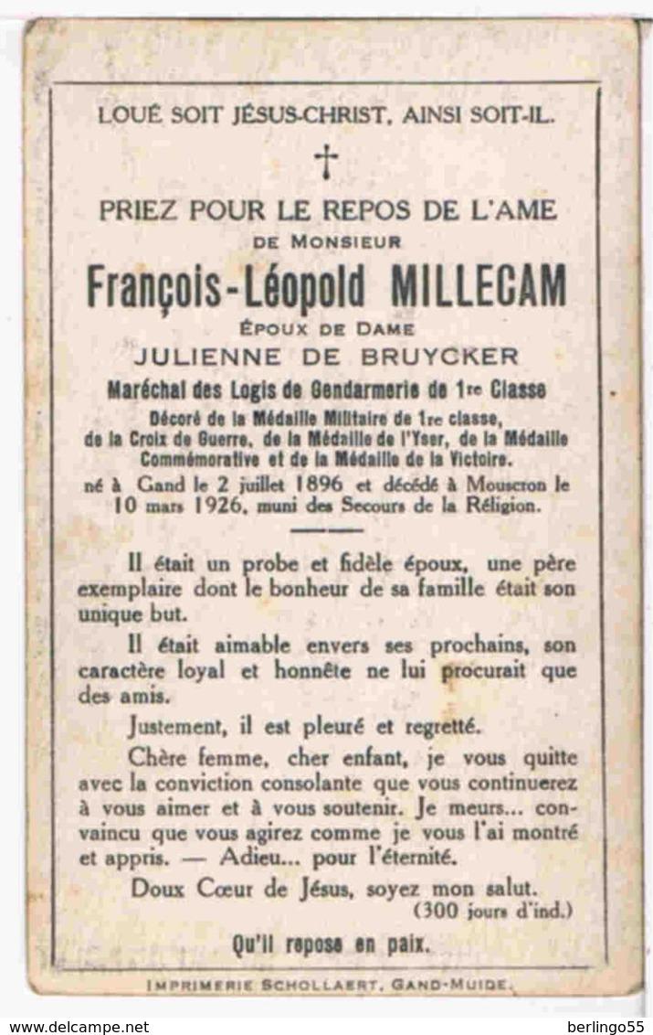 Priez. (Rijkswachter) Millecam François. Epoux. De Bruycker Julienne. ° Gand 1896 † Mouscron 1926  (2 Scan's) - Religion & Esotericism