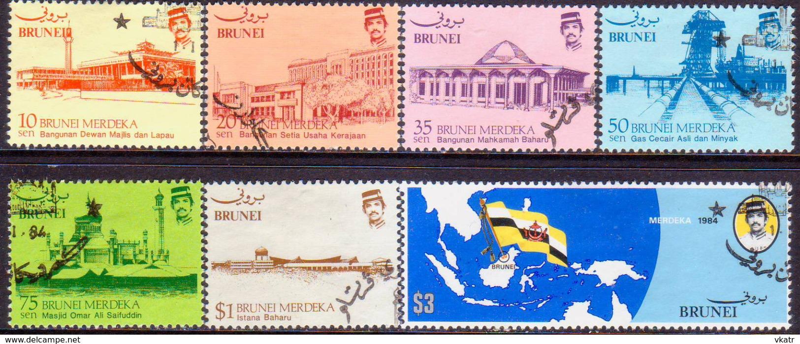 BRUNEI 1984 SG 340-46 Compl.set Used Independence - Brunei (1984-...)