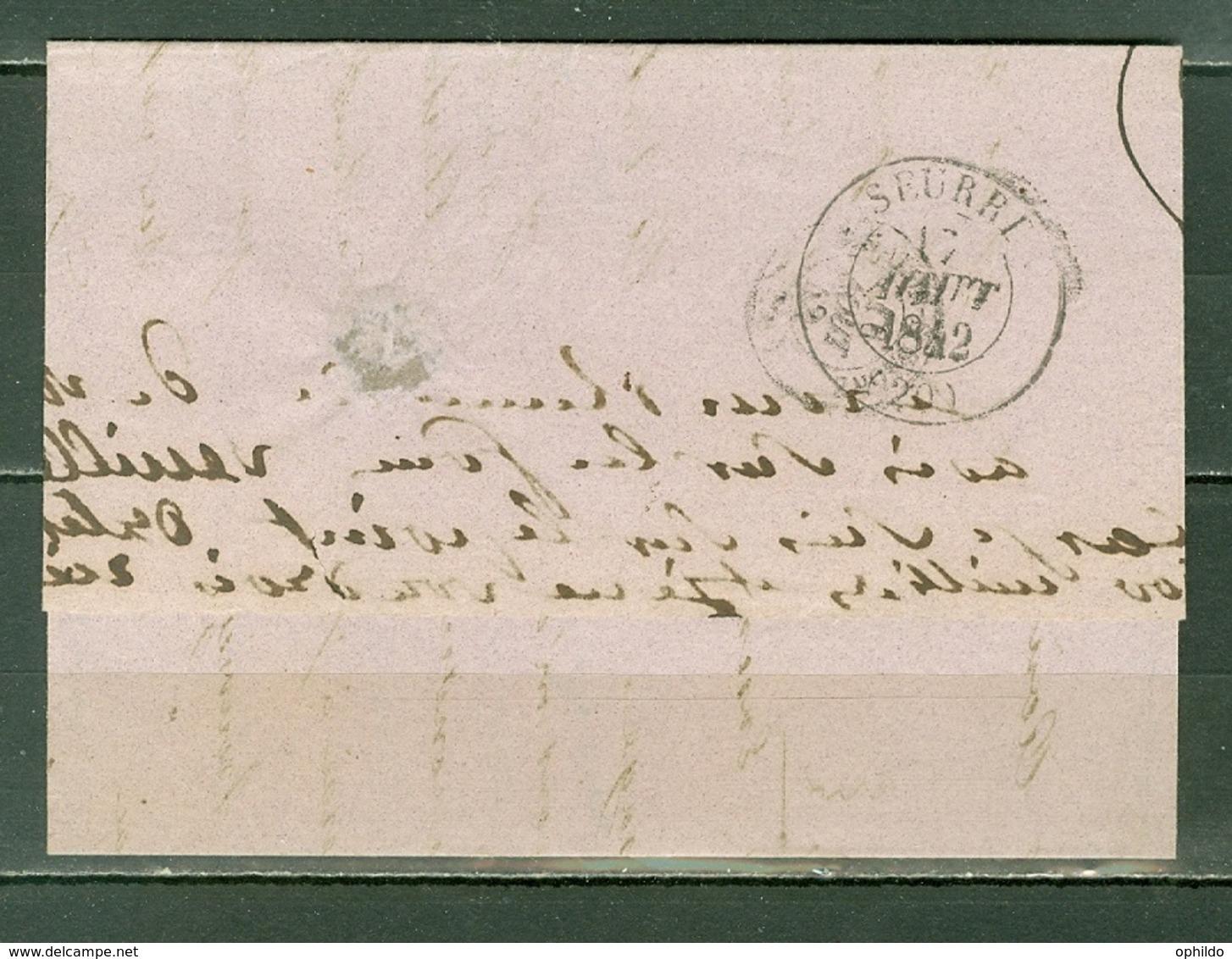 France  Lettre  Lyon Pour Seurre Du 16 Aout 1842 - Marcofilia (sobres)