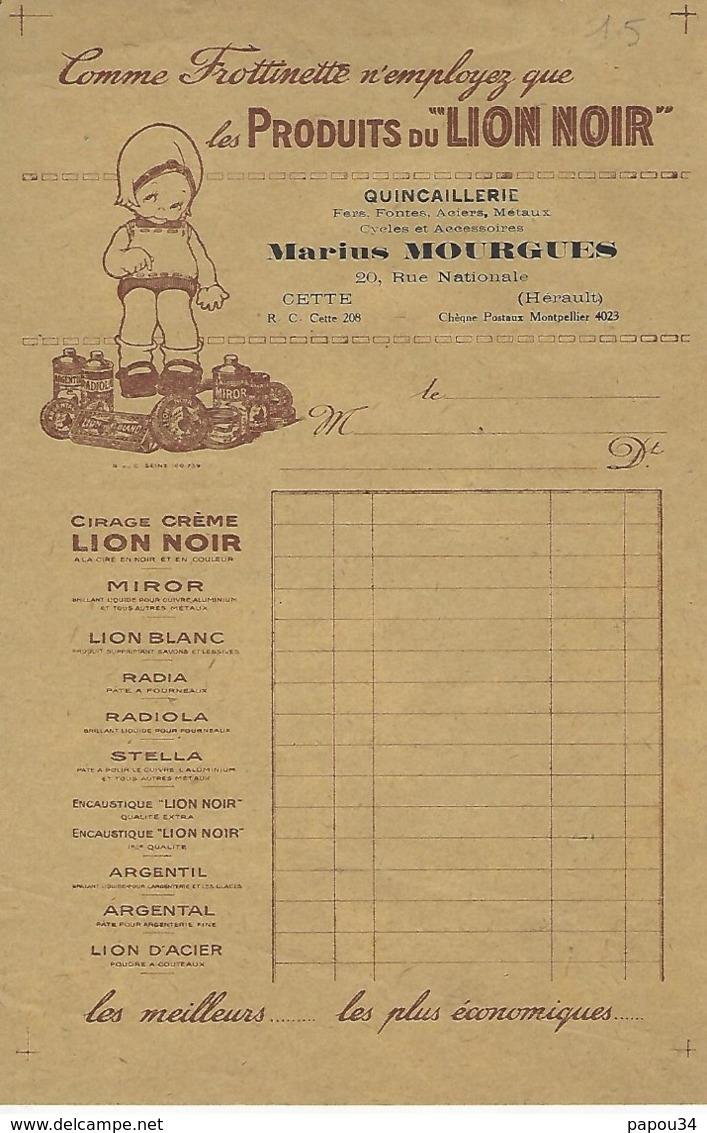 Cette-sete Facture Marius Mourgues 20 Rue Nationale-produits Du Lion Noir - France