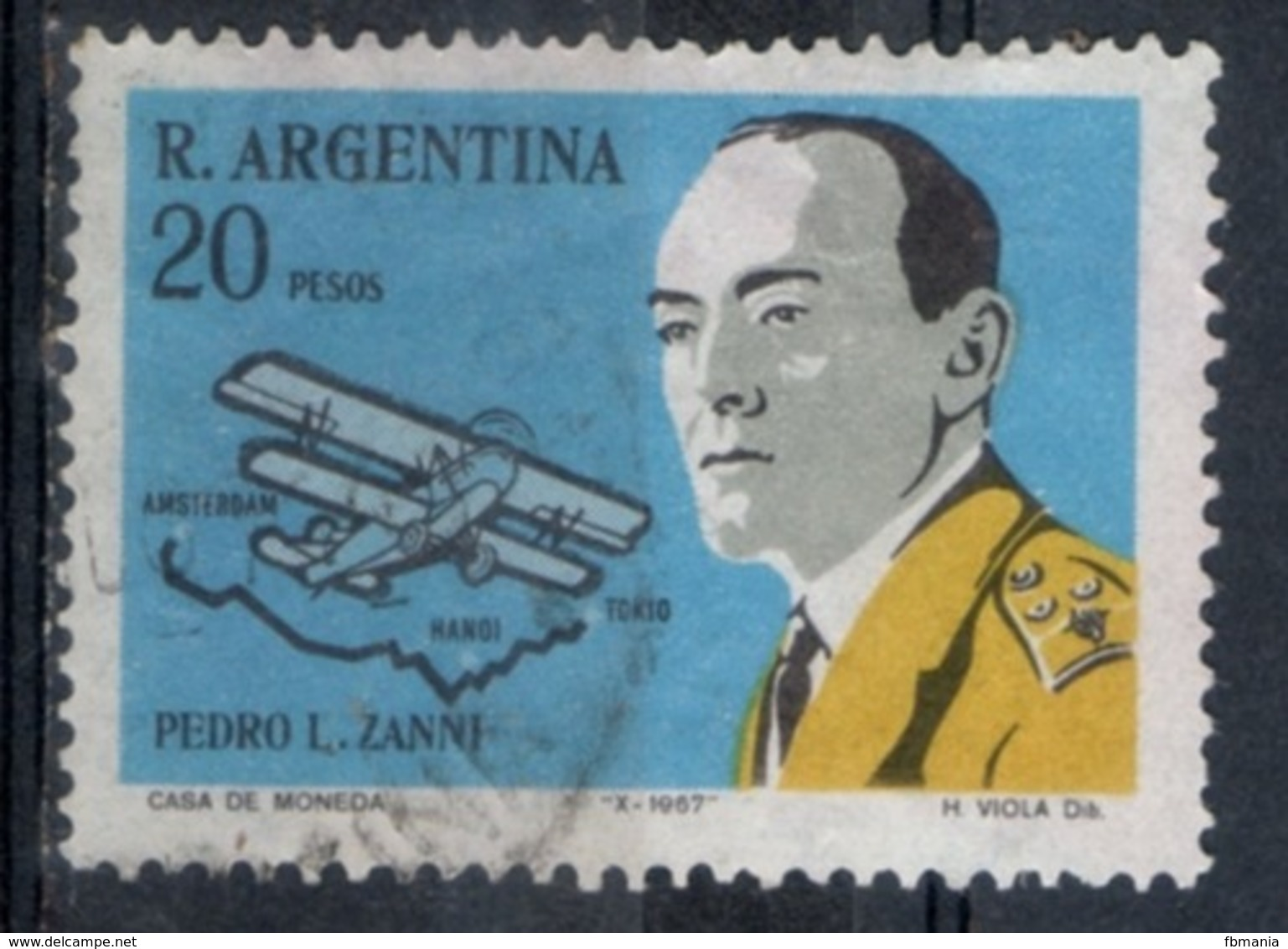 Argentina 1967 - Pedro Zanni Fokker E Rotta Di Volo 1924 Flight Route - Argentina