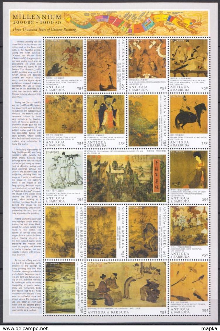 U800 ANTIGUA & BARBUDA MILLENNIUM ART CHINESE PAINTING 1000BC-1000AD 1SH MNH - Art