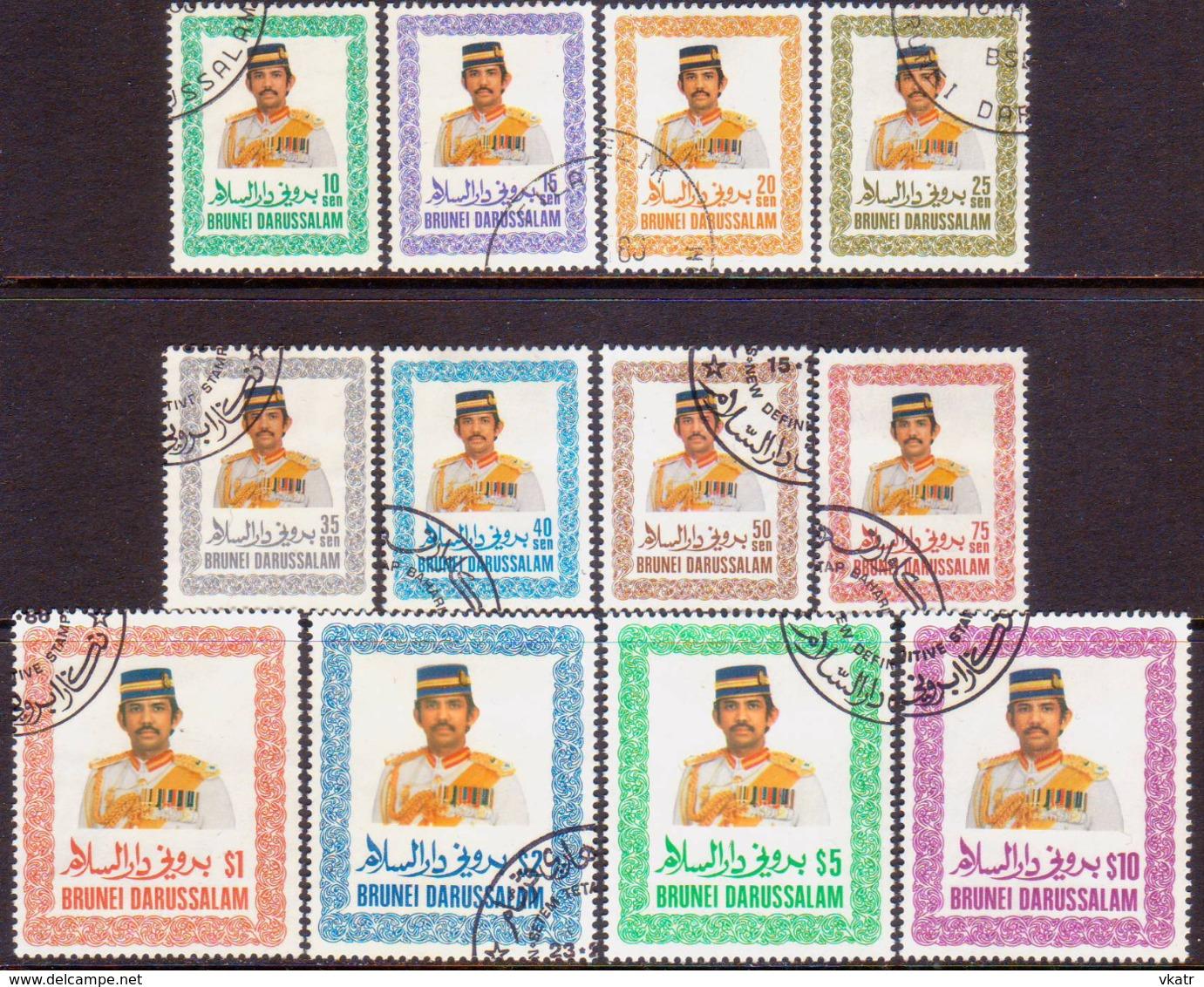 BRUNEI 1985-86 SG 371-82 Compl.set Used Definitives - Brunei (1984-...)