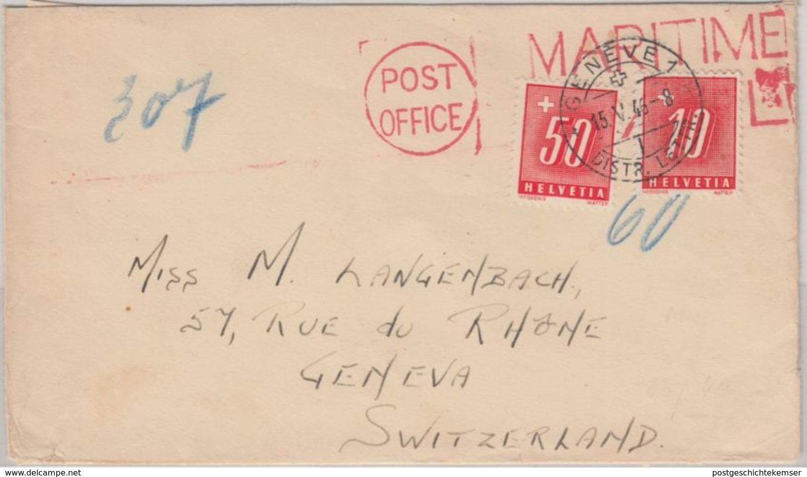 Schweiz - 50+10 C. Portomarke Schiffspostbrief Post Office Maritime - Genf 1946 - Portomarken