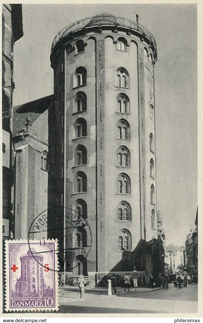 D38330 CARTE MAXIMUM CARD 1948 DENMARK - COPENHAGEN OBSERVATORY ROUND TOWER ASTRONOMY CP ORIGINAL - Astronomie