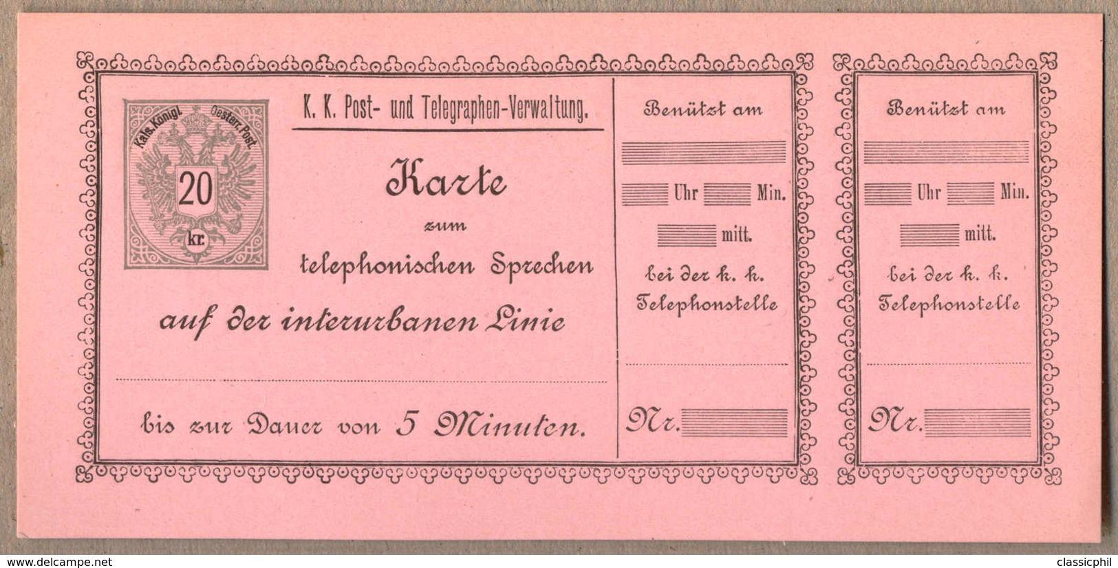 ** 1888, 20 Kr., Grau Und Scharz/rosa, Telefonsprechkarte, Archivfrisch, Ungebraucht, Luxuserhaltung!. Estimate 800€. - Österreich
