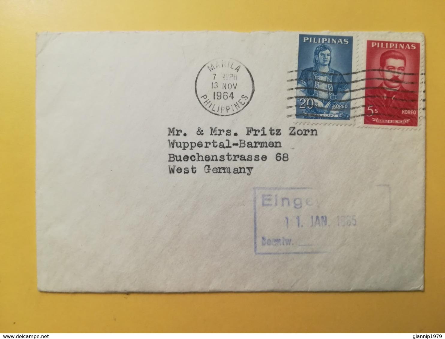 1964 BUSTA STORIA POSTALE FILIPPINE PHILIPPINE BOLLO MARCELO H. DEL PILAR LAPU LAPU ANNULLO MANILA OBLITERE' TIMBRO - Filippine