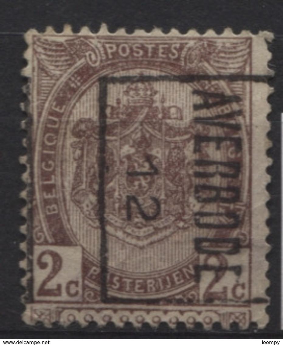PREOS Roulette - AVERBODE 1912 Sans Bandelette (position B). Cat 1776 Cote 300 - Precancels