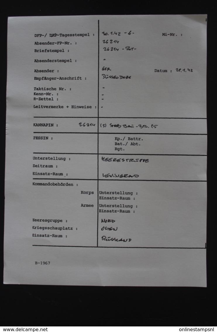 DR Feldpost Brief Mit Inhalt, Leningrad 1942 Mit Detaillierte Festlegung Dusseldorf - Deutschland