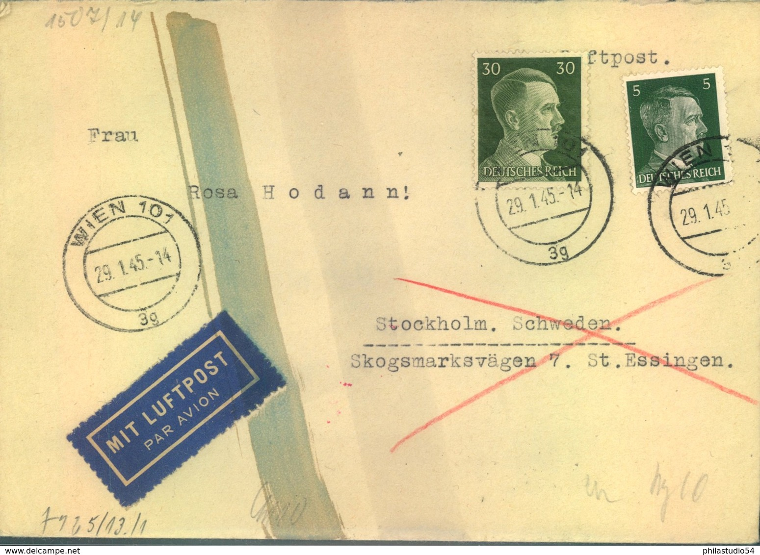 1945, Luftpostbrief Nach Schweden Ab WIEN 29.1.45 Mit Chemischer Zensur. - Deutschland