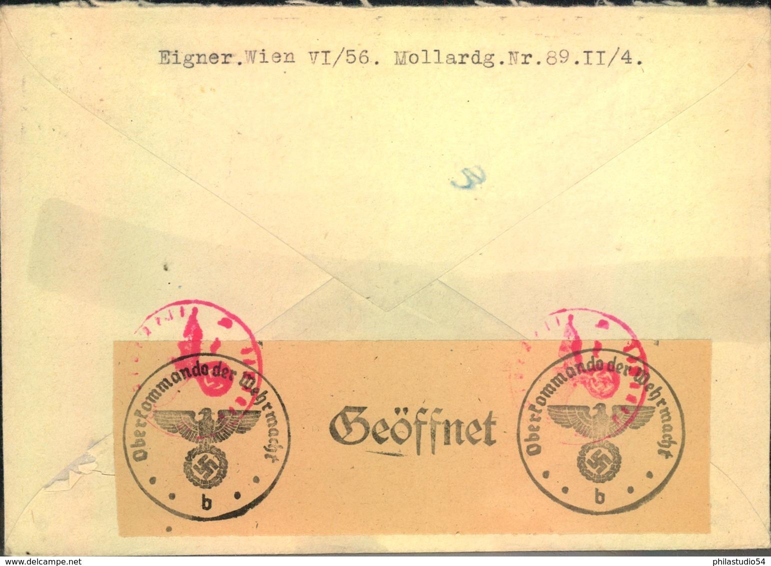 1945, Luftpostbrief Nach Schweden Ab WIEN 29.1.45 Mit Chemischer Zensur. - Alemania
