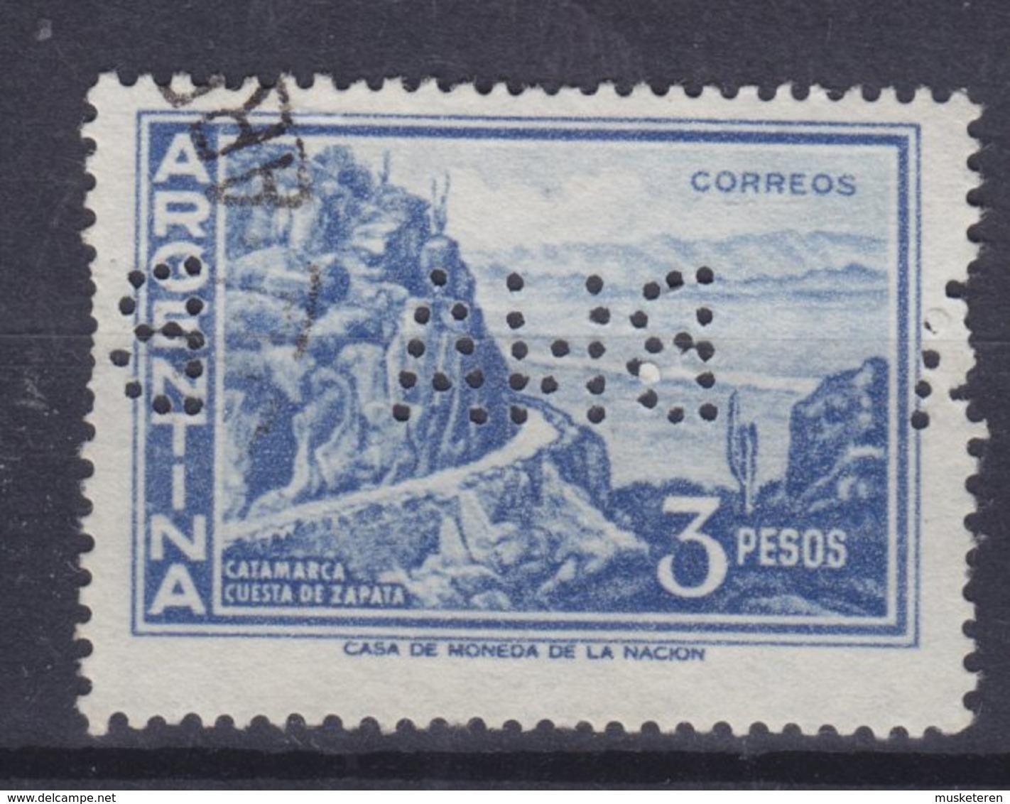 Argentina Perfin Perforé Lochung 'BNA' Banco De La Nación Argentina 1960 Mi. 702, 3p Gebirgsstrasse Abhang Von Zapata - Argentina