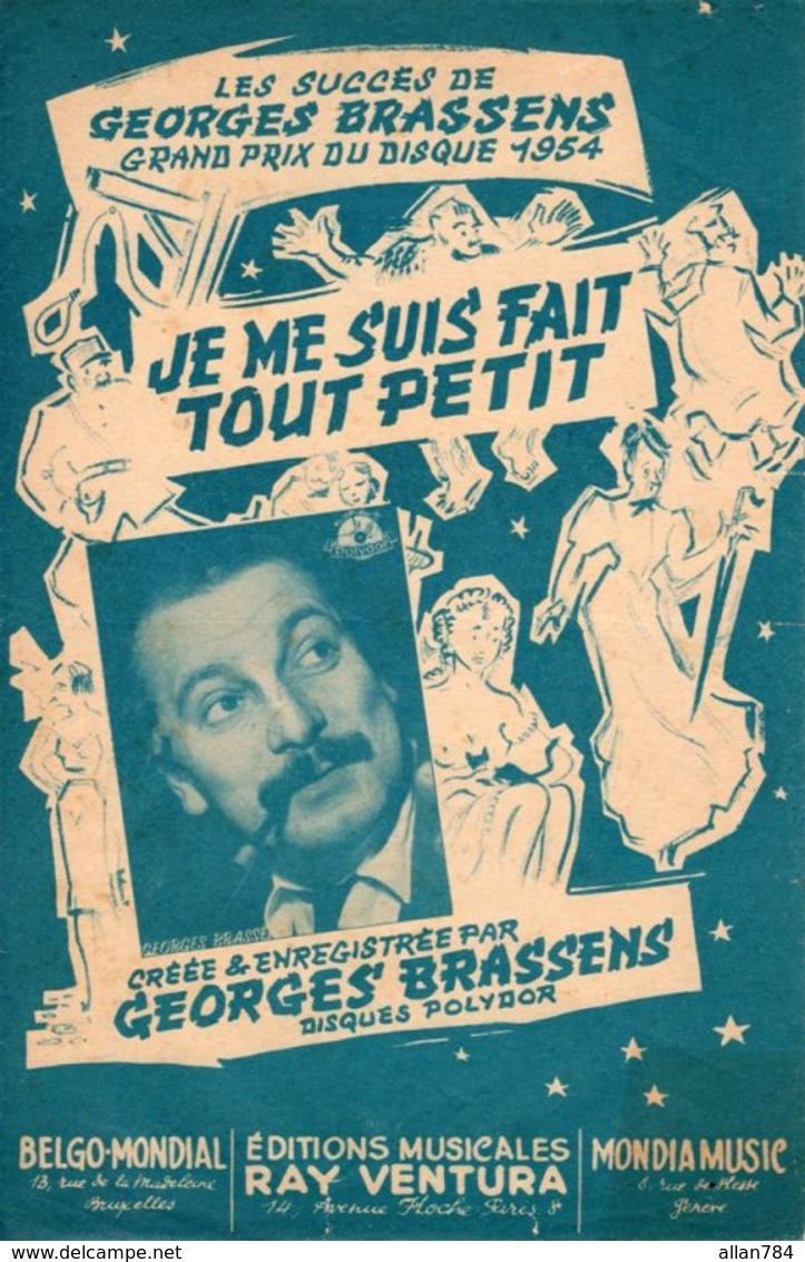PARTITION GEORGES BRASSENS - JE ME SUIS FAIT TOUT PETIT - 1955 - TB ETAT - - Music & Instruments
