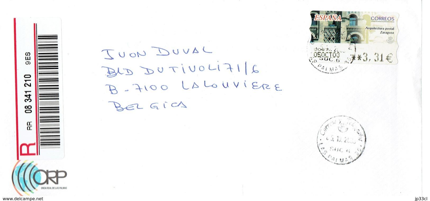 Carta Certificada (recommandé) De La Onda Real De Las Palmas A Belgica (5/10/2003) - Objets Dérivés