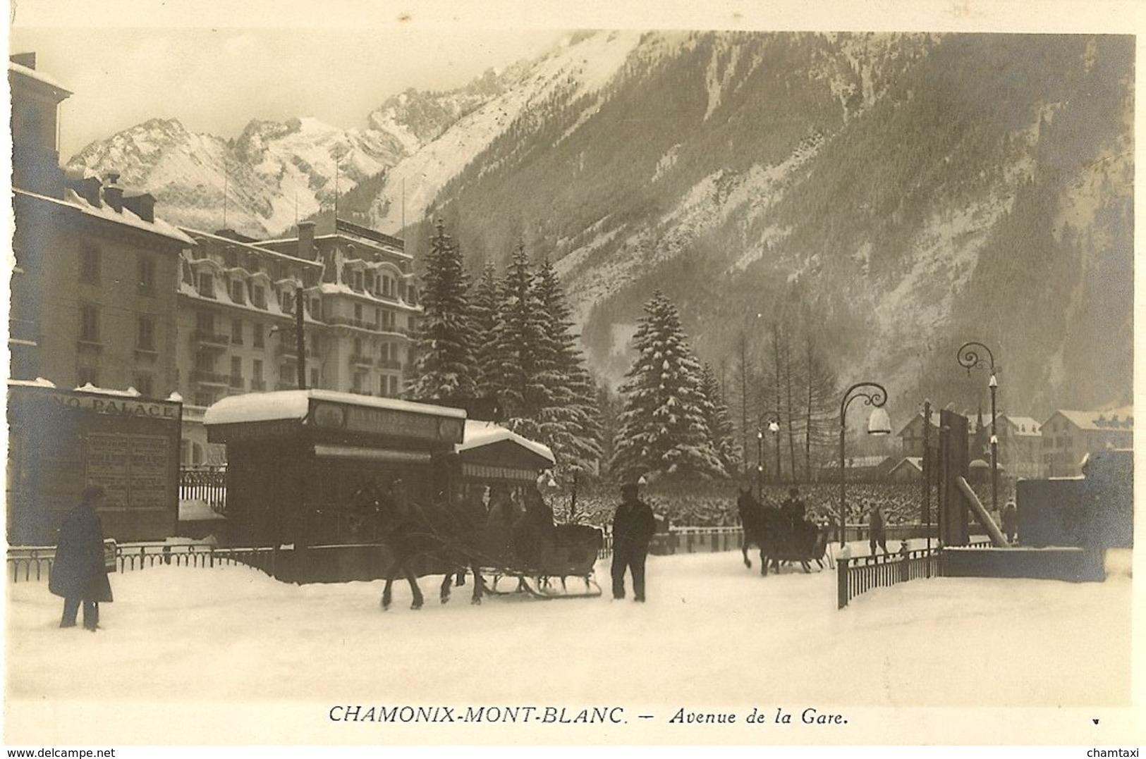 74 CHAMONIX MONT BLANC TRAINEAU AVENUE DE LA GARE CHAMONIX PALACE  AUJOURD HUI RESIDENCE MONT BLANC Editeur MONNIER - Chamonix-Mont-Blanc