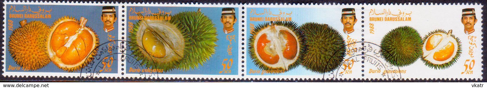 BRUNEI 1988 SG 421-24 Compl.set In A Strip Of 4 Used Local Fruits (2nd Series) - Brunei (1984-...)