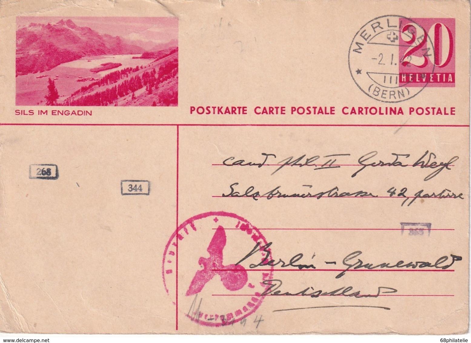 SUISSE 1942  ENTIER POSTAL/GANZSACHE/POSTAL STATIONERY CARTE CENSUREE DE MERLIGEN - Interi Postali