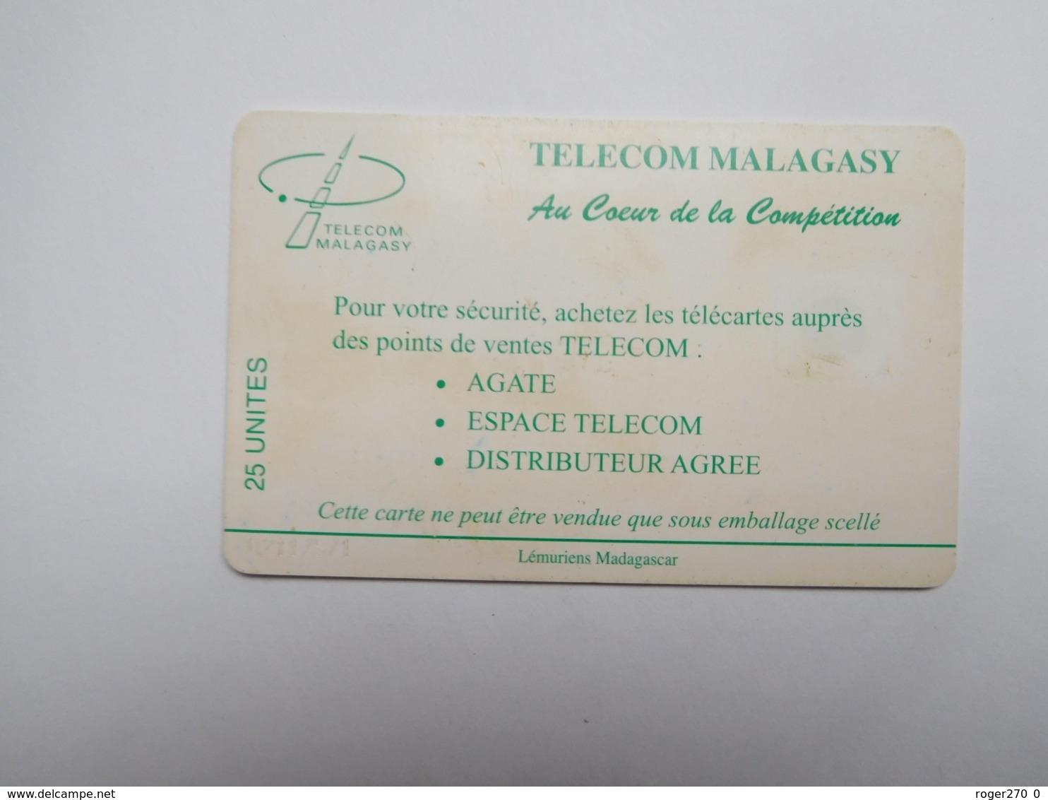 Télécarte Magagascar , Malagasy , Singe Lémurien - Madagascar