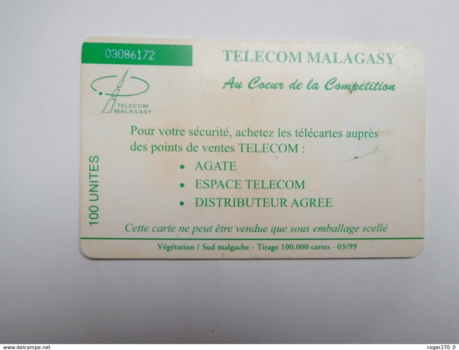 Télécarte Magagascar , Malagasy , Végétation - Madagaskar