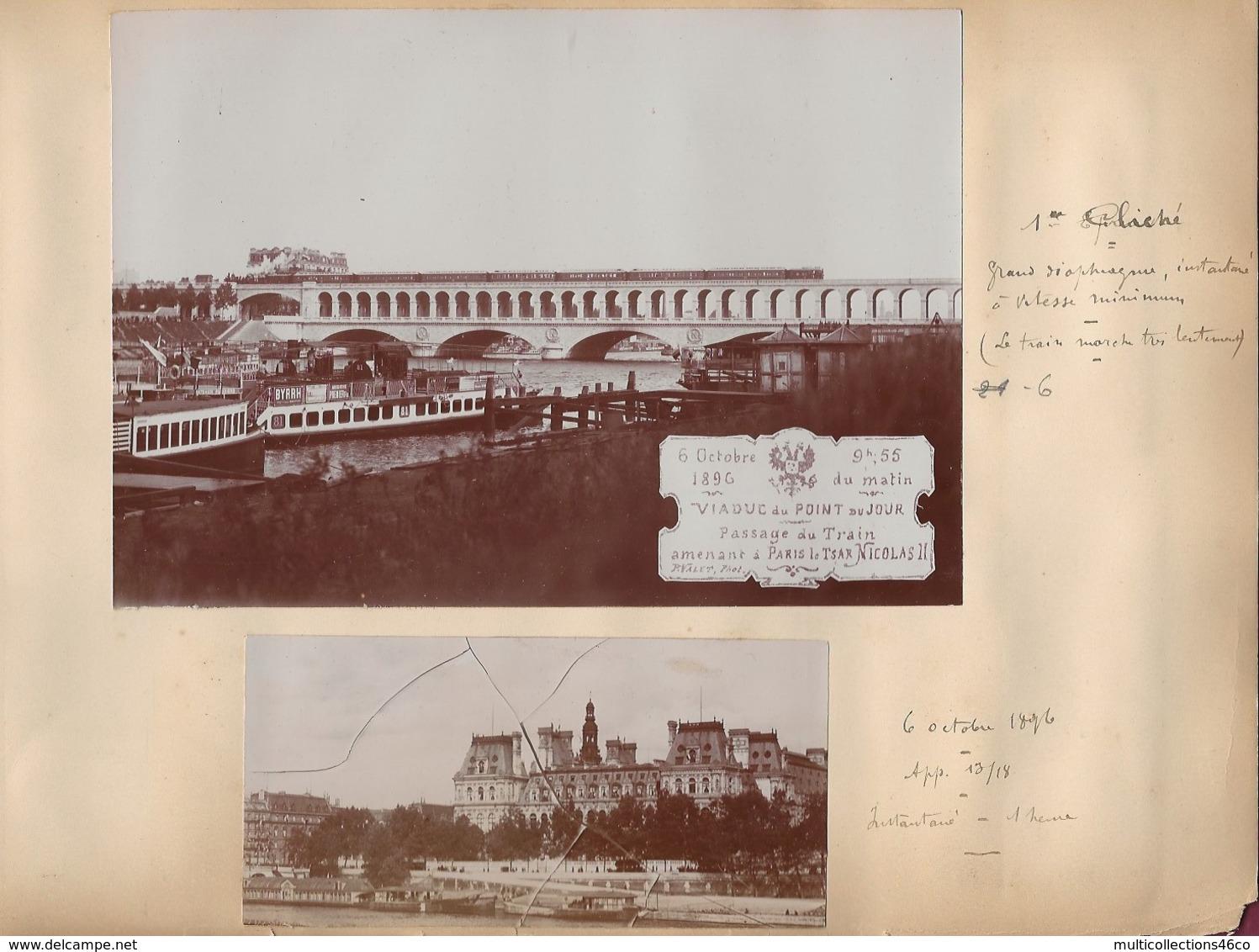 240919C - 4 PHOTOS 1896 - 75 PARIS Viaduc Du Point Du Jour Passage Du Train RUSSIE Tsar NICOLAS II Concorde Seine - Bridges