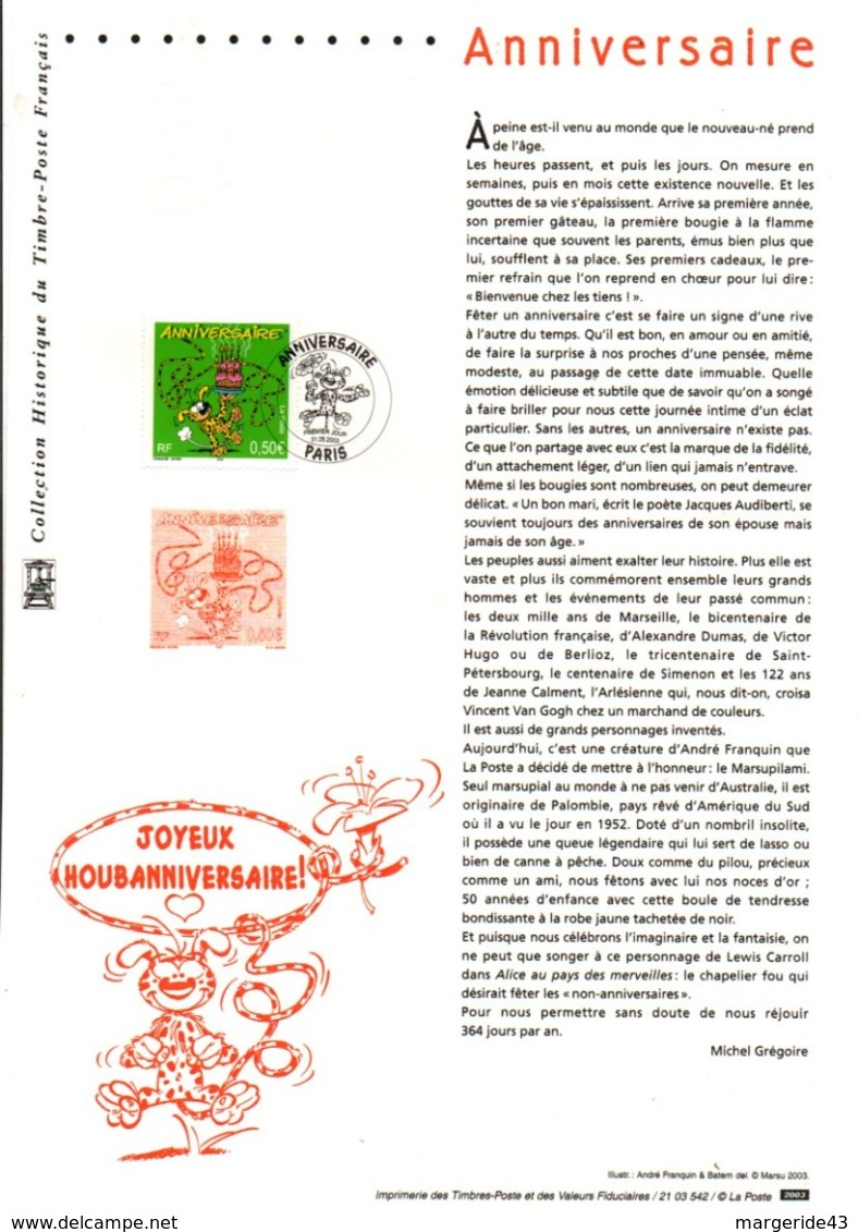 DOCUMENT FDC 2003 ANNIVERSAIRE BD MARSUPILAMI - Documents De La Poste
